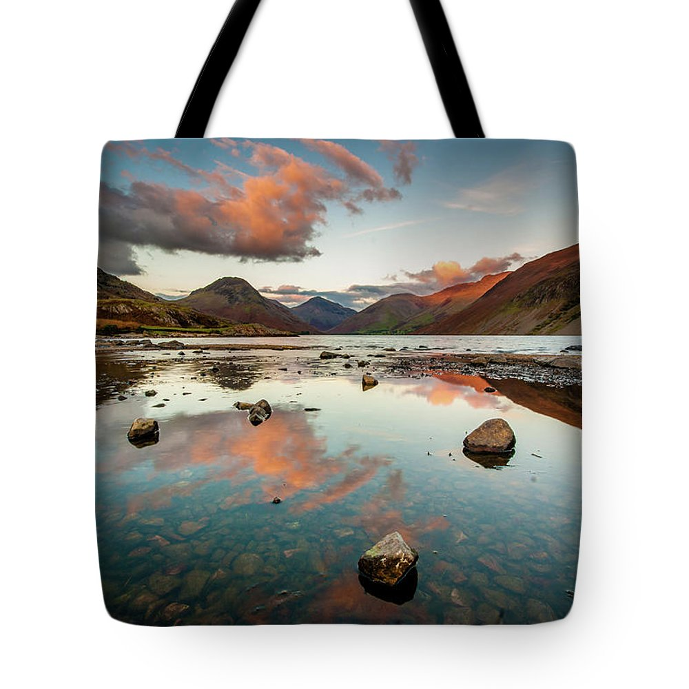 Sunrise Tote Bag featuring the photograph Sunset at Wast Water #1, Wasdale, Lake District, England by Anthony Lawlor