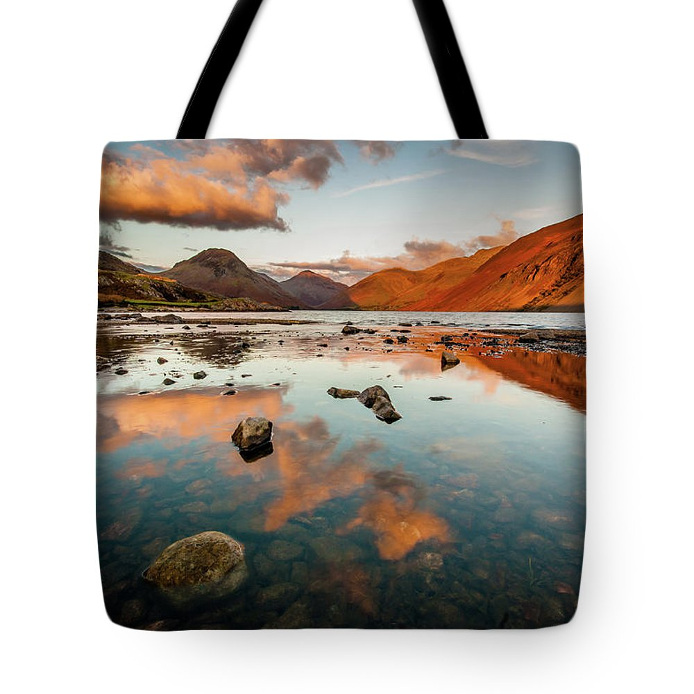 Sunrise Tote Bag featuring the photograph Sunset At Wast Water #2, Wasdale, Lake District, England by Anthony Lawlor