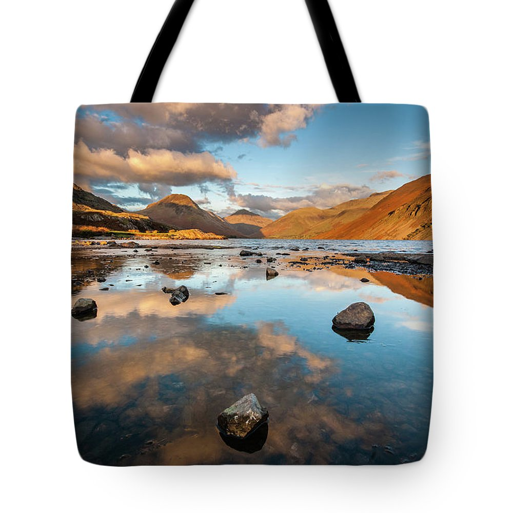 Sunrise Tote Bag featuring the photograph Sunset at Wast Water #3, Wasdale, Lake District, England by Anthony Lawlor