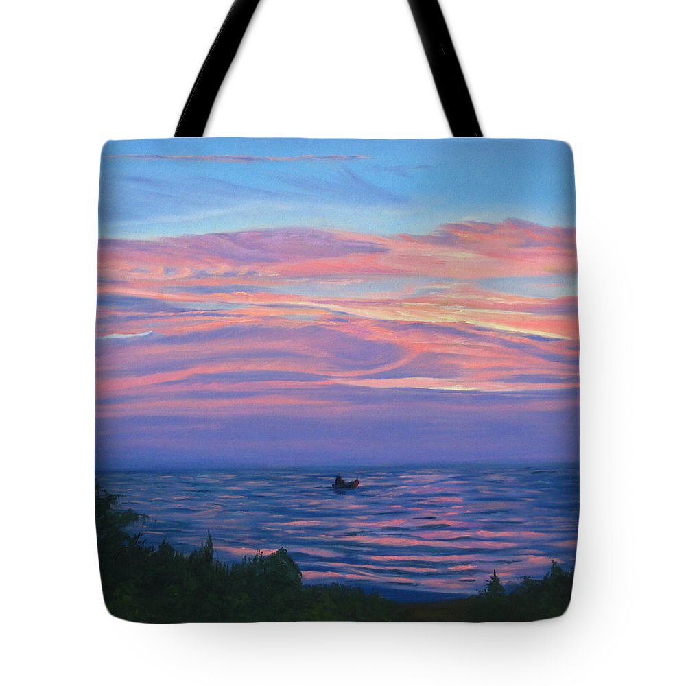 Seascape Tote Bag featuring the painting Sunset Bay by Lea Novak