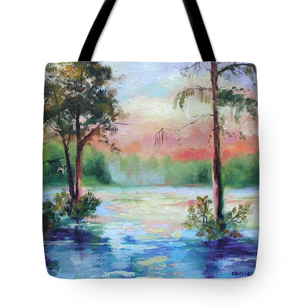 Sunset Tote Bag featuring the painting Sunset Bayou by Ginger Concepcion