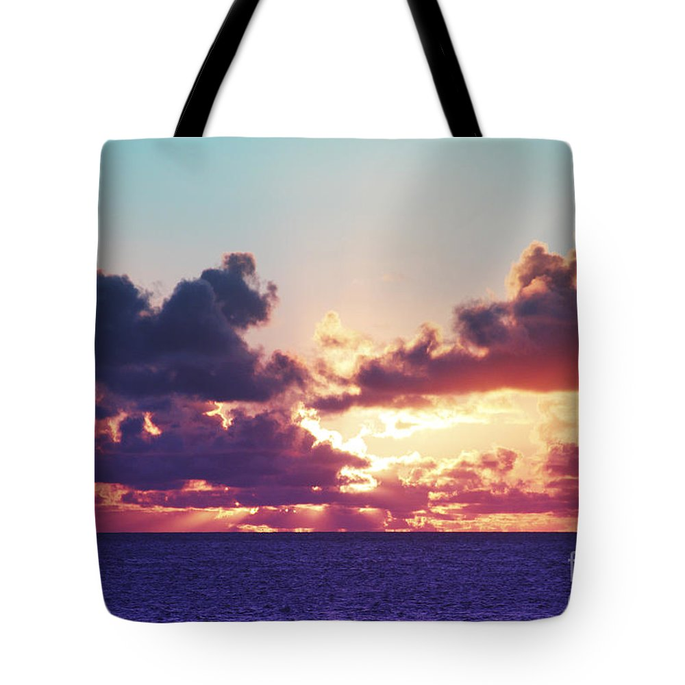 Beautiful Tote Bag featuring the photograph Sunset Behind Clouds by Vince Cavataio - Printscapes
