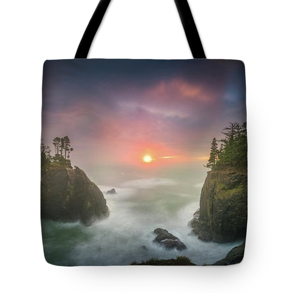 America Tote Bag featuring the photograph Sunset Between Sea Stacks With Trees Of Oregon Coast by William Freebilly photography