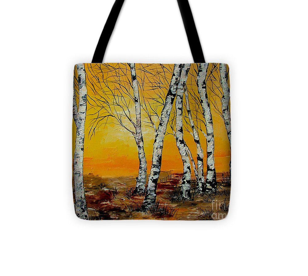 Birch Tote Bag featuring the painting Sunset Birches by Inna Montano