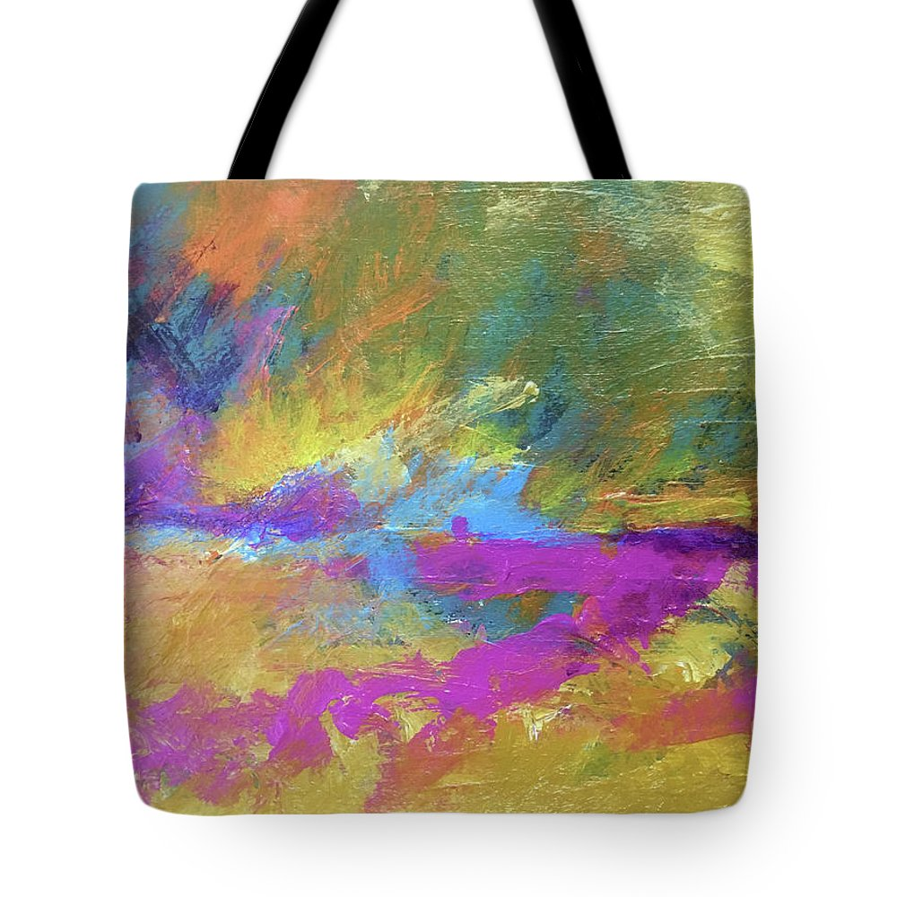 Abstract Tote Bag featuring the painting Sunset Burst by Jeannine Owens
