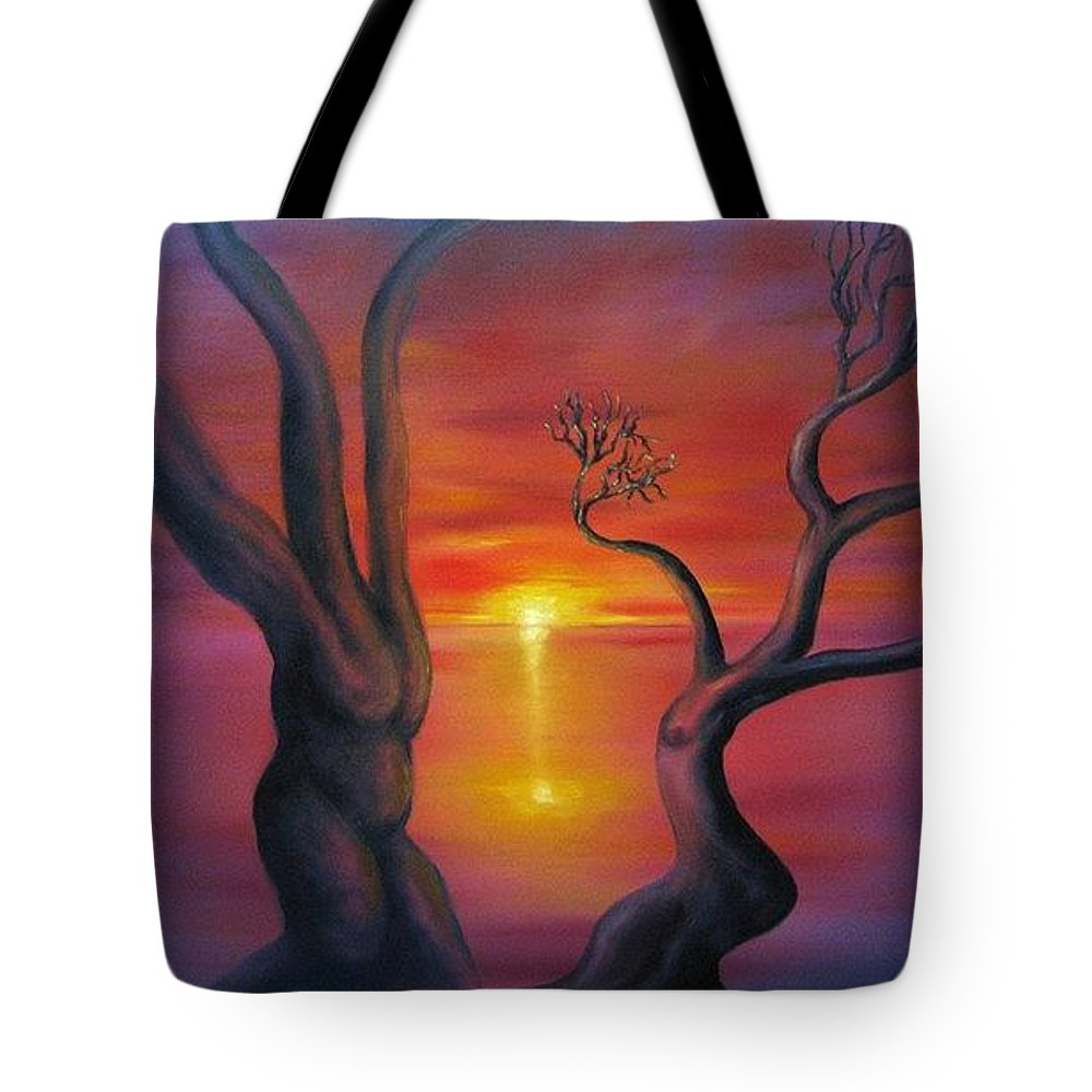 Landscape Tote Bag featuring the painting Sunset Dance Fantasy Oil Painting by Natalja Picugina