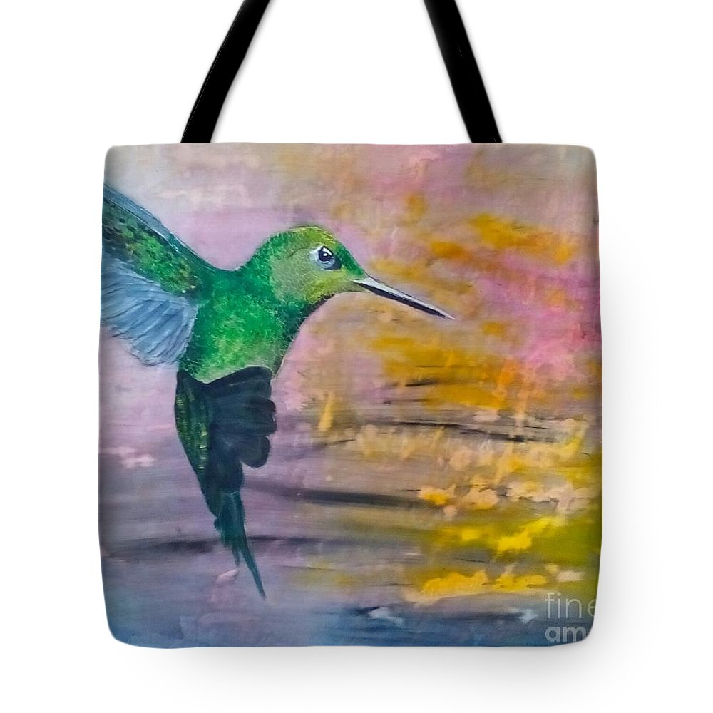 Hummingbird Tote Bag featuring the painting Sunset Dancer by J Bauer