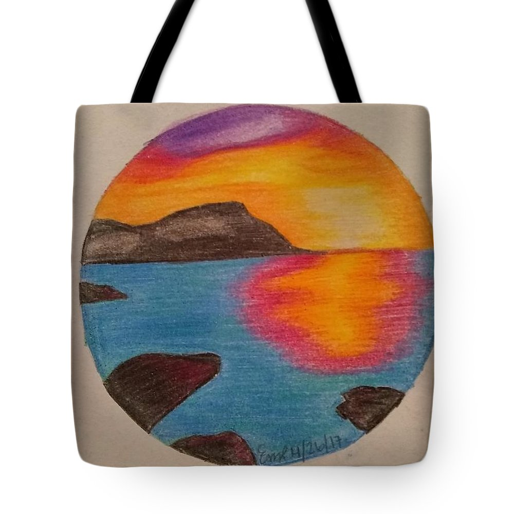 Landscape Sunset Pencil Color Tote Bag featuring the drawing Sunset by Emily Ripplinger