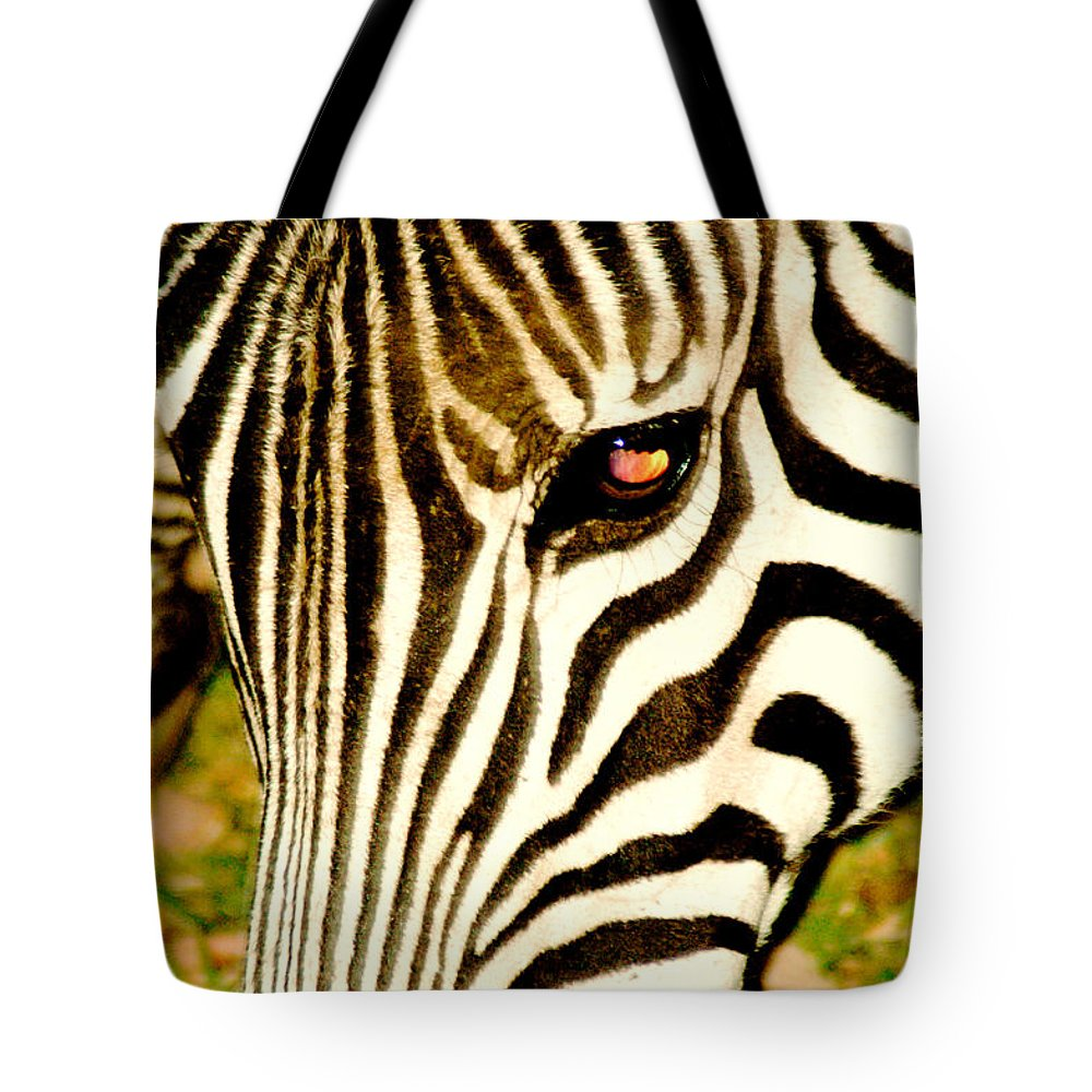 Zebra Tote Bag featuring the photograph Sunset Eyes by Marc Levine