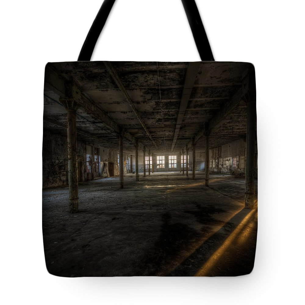 Urebx Tote Bag featuring the digital art Sunset Factory by Nathan Wright