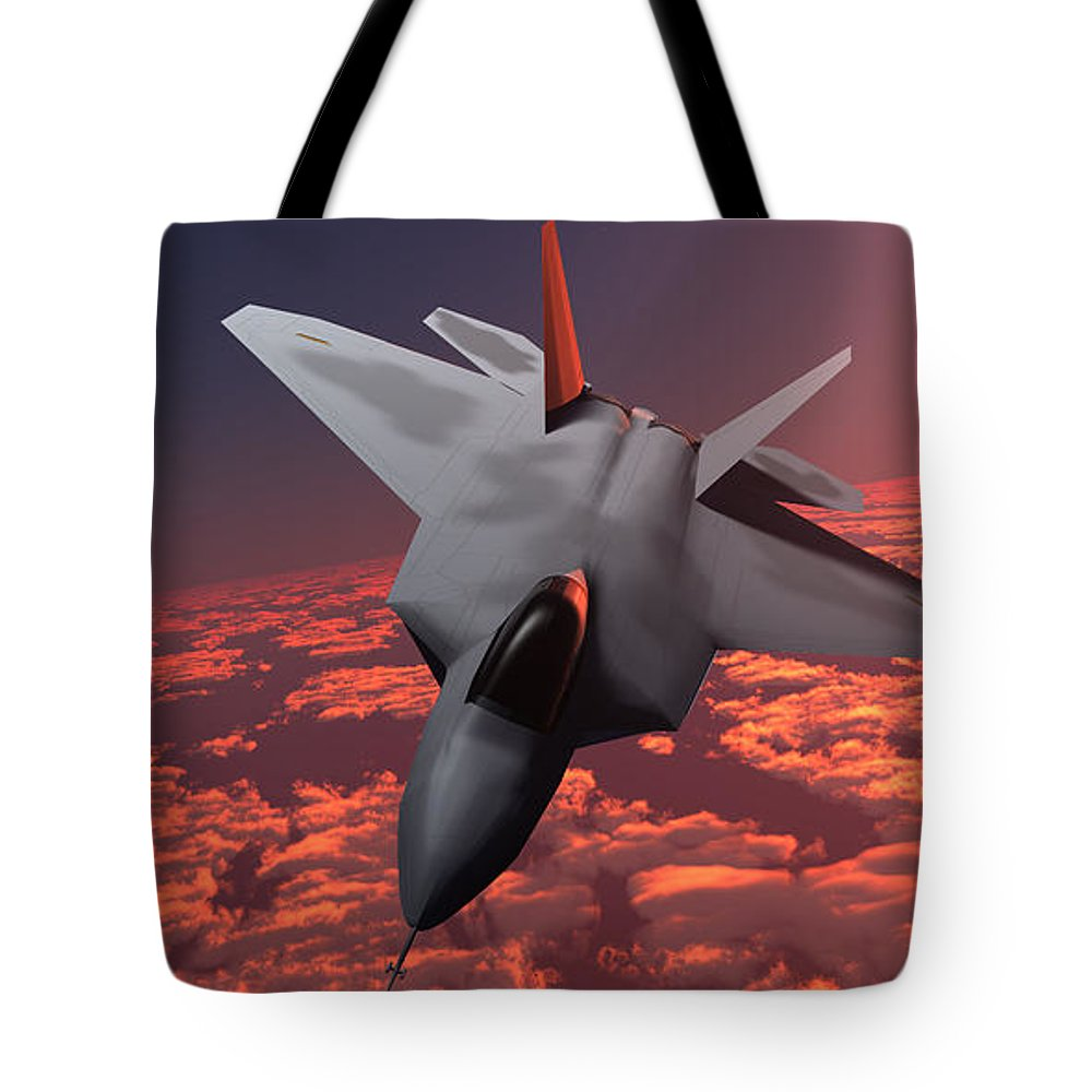 Fighter Tote Bag featuring the painting Sunset Fire F22 Fighter Jet by Corey Ford