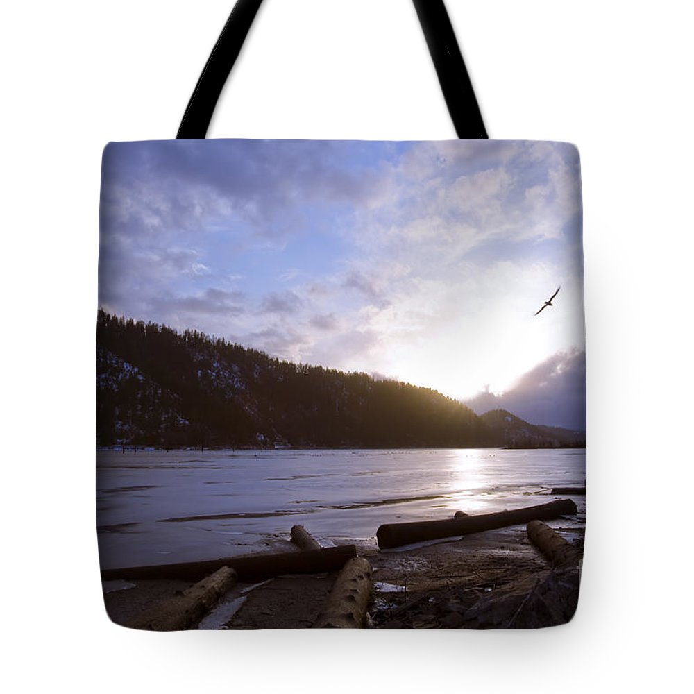 Bird Tote Bag featuring the photograph Sunset Flight by Idaho Scenic Images Linda Lantzy