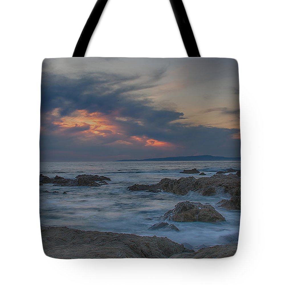 Asilomar Tote Bag featuring the photograph Sunset From Pacific Grove by Bill Roberts