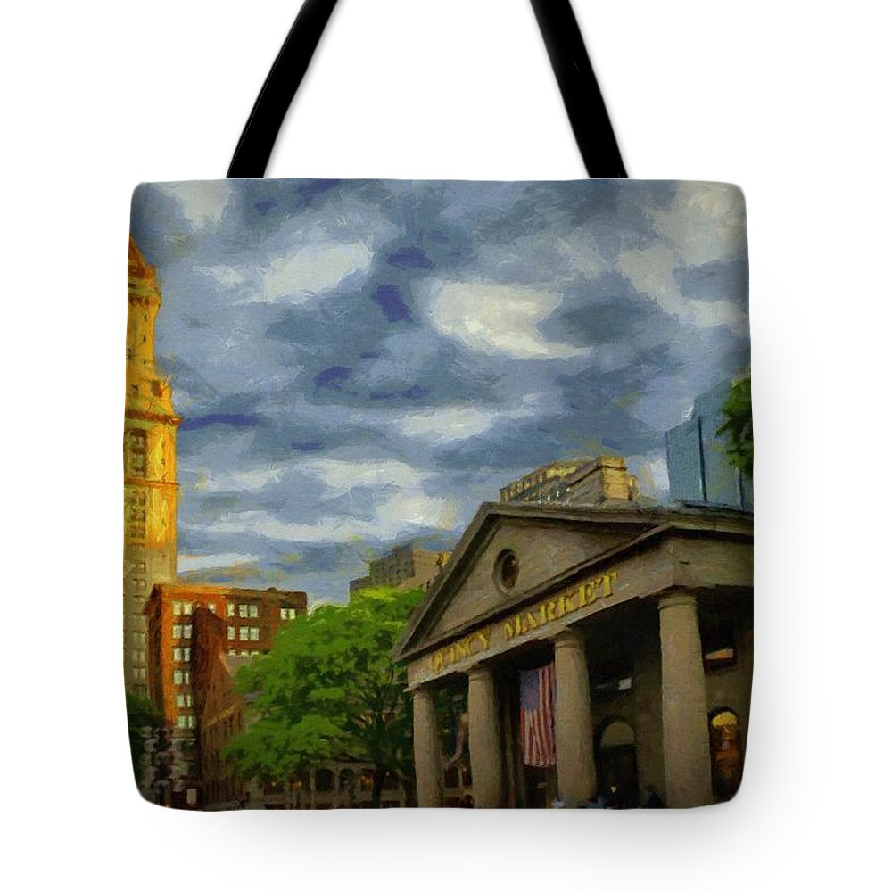 Boston Tote Bag featuring the painting Sunset Gleam Of Custom House Tower by Jeffrey Kolker