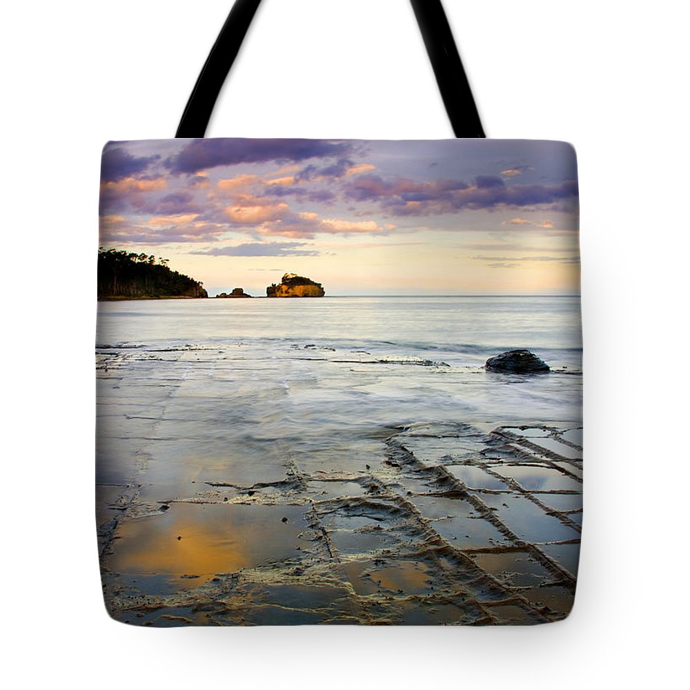 Tesselated Pavement Tote Bag featuring the photograph Sunset Grid by Mike Dawson