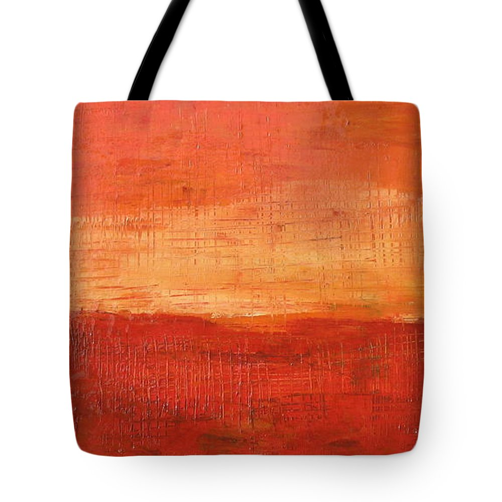 Abstract Tote Bag featuring the painting Sunset by Habib Ayat