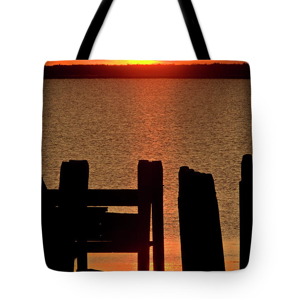 Sunset Tote Bag featuring the digital art Sunset Hecla Island Manitoba Canada by Mark Duffy