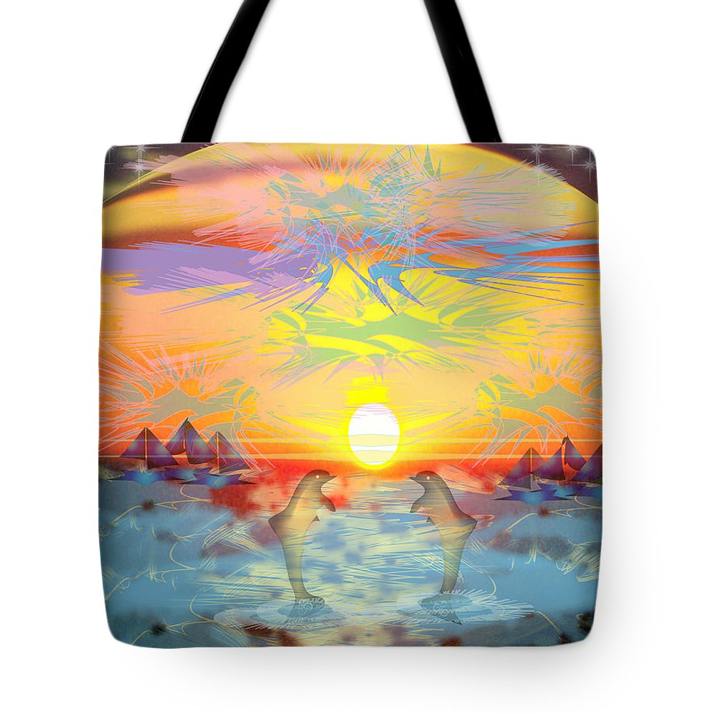 Nature Tote Bag featuring the digital art Sunset IIi by George Pasini
