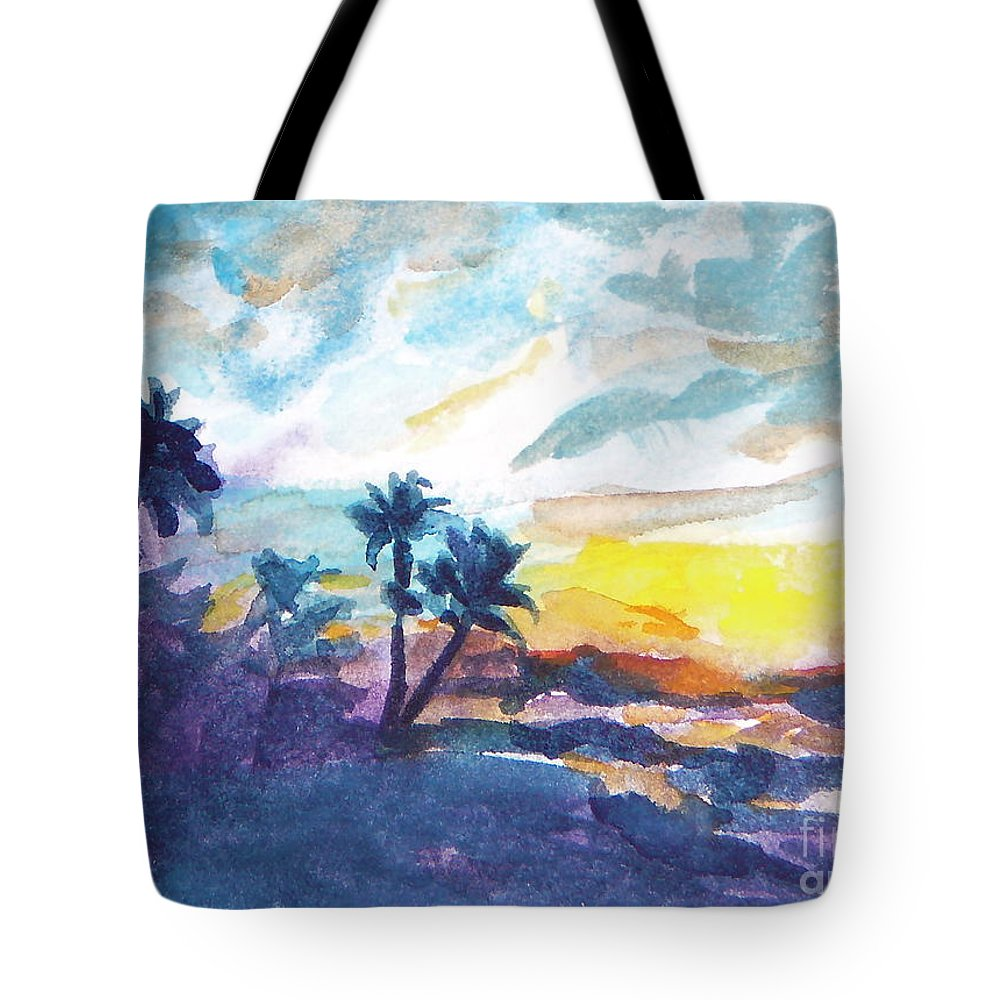 Landscape Tote Bag featuring the painting Sunset In Hawaii by Jan Bennicoff