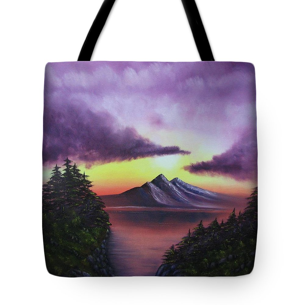 Sunset Tote Bag featuring the painting Sunset In Mountains Original Oil Painting by Natalja Picugina