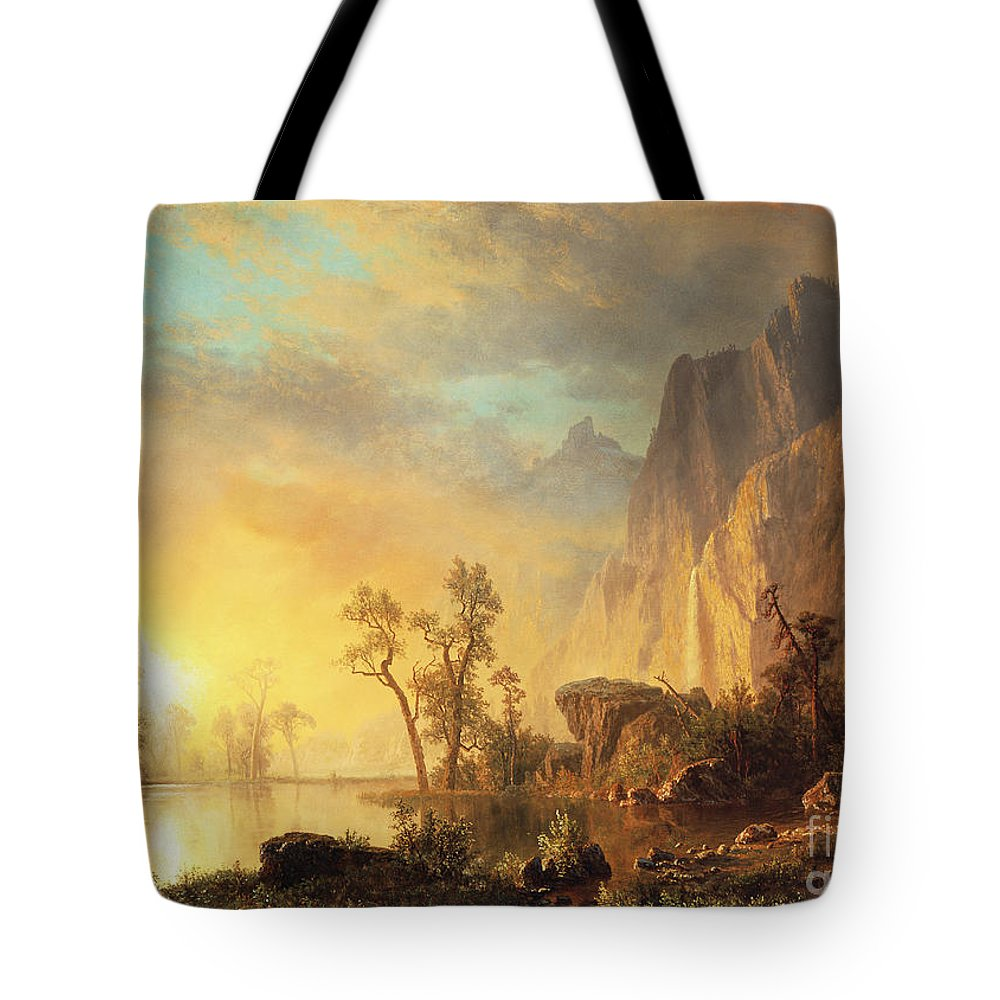 Bierstadt Tote Bag featuring the painting Sunset in the Rockies by Albert Bierstadt