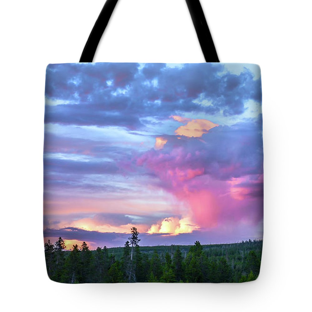 Sunset Tote Bag featuring the photograph Sunset In Yellowstone by David Meznarich
