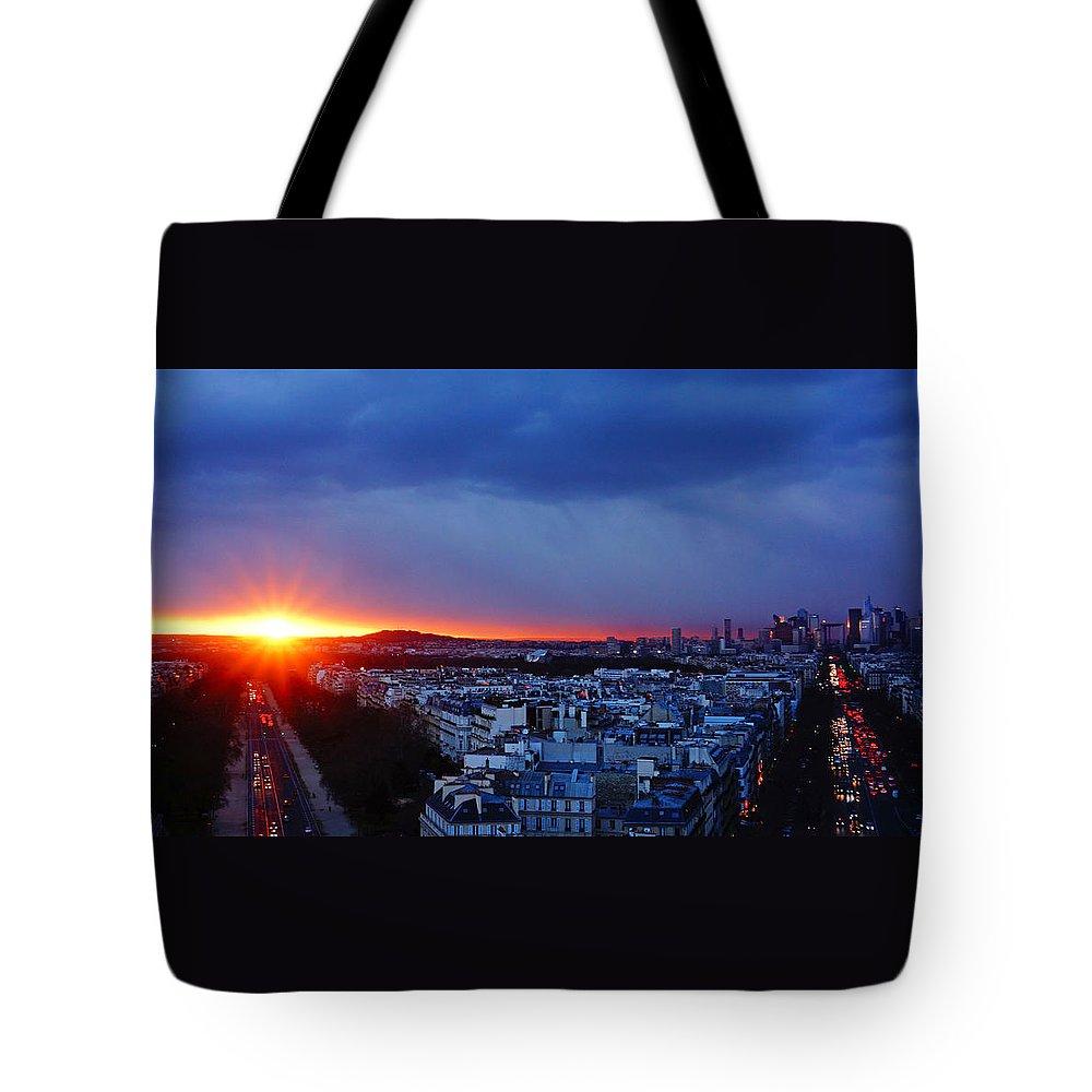 Europe Tote Bag featuring the photograph Sunset La Defense Paris France by Lawrence S Richardson Jr