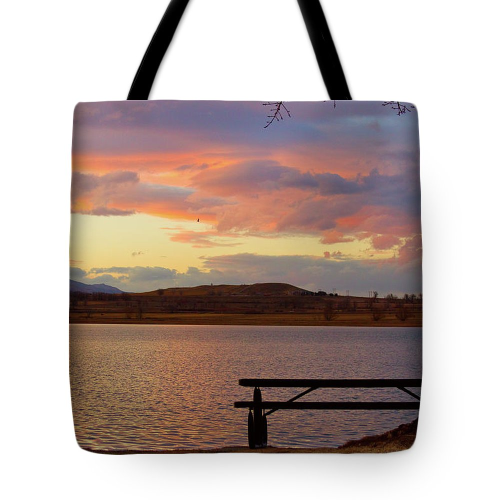 Lake Tote Bag featuring the photograph Sunset Lake Picnic Table View by James BO Insogna