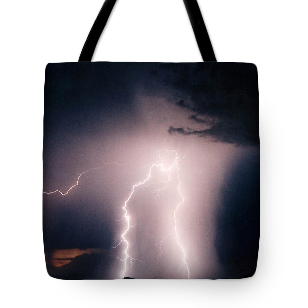 Lightning Photography Tote Bag featuring the photograph Sunset Lightning by Cathy Franklin
