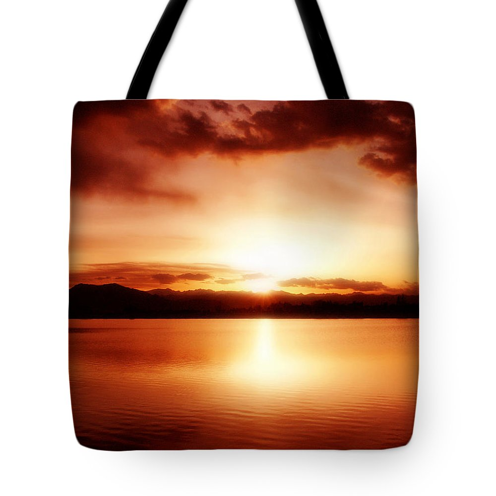 Lake Tote Bag featuring the photograph Sunset by Marilyn Hunt
