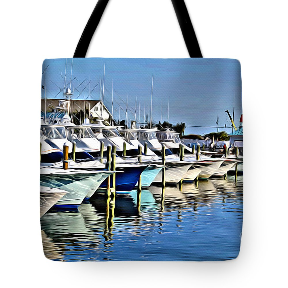 White Marlin Open Tote Bag featuring the photograph Sunset Marina by Carey Chen