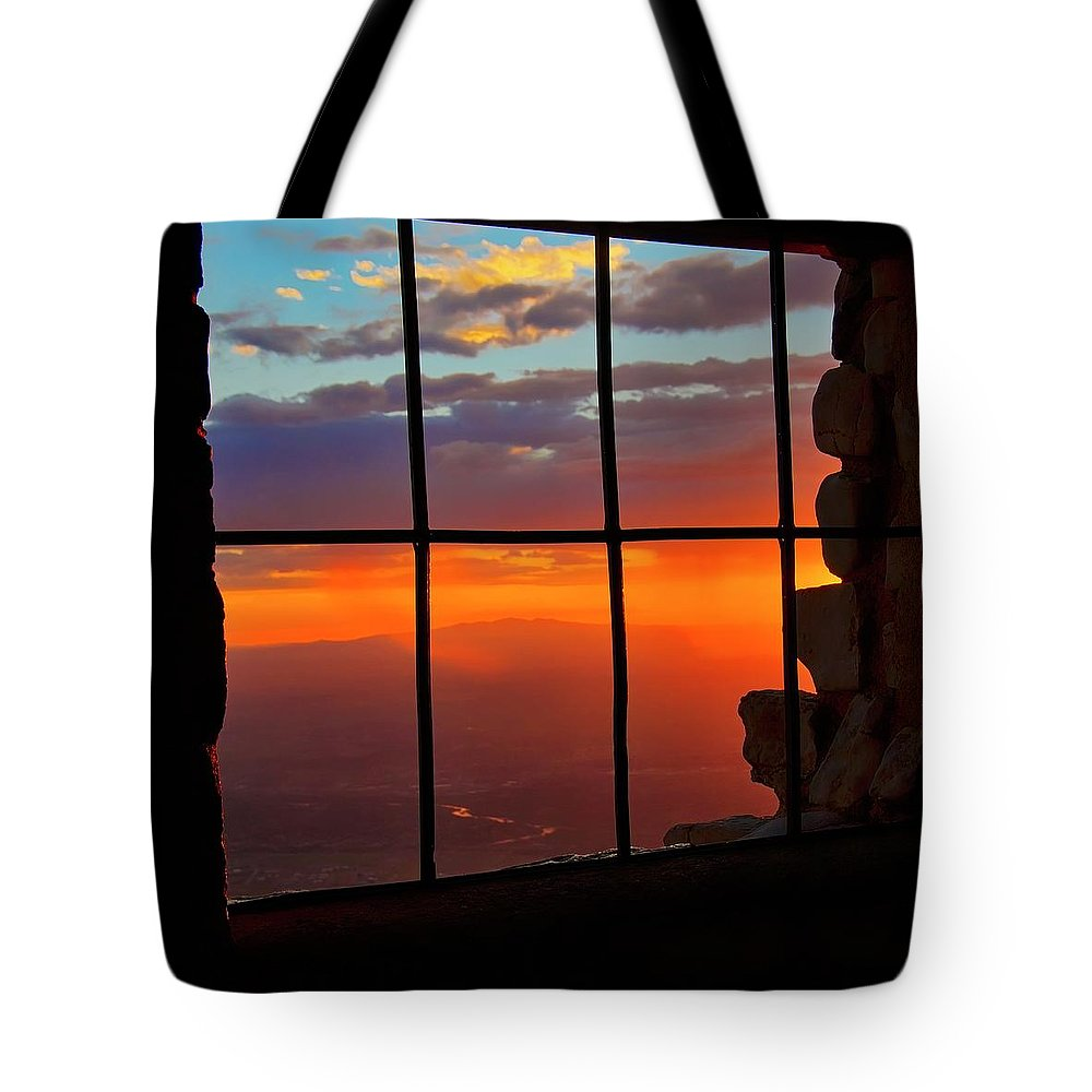 Fine Art Photography Tote Bag featuring the photograph Sunset on Albuquerque's Rio Grande Valley by Zayne Diamond Photographic