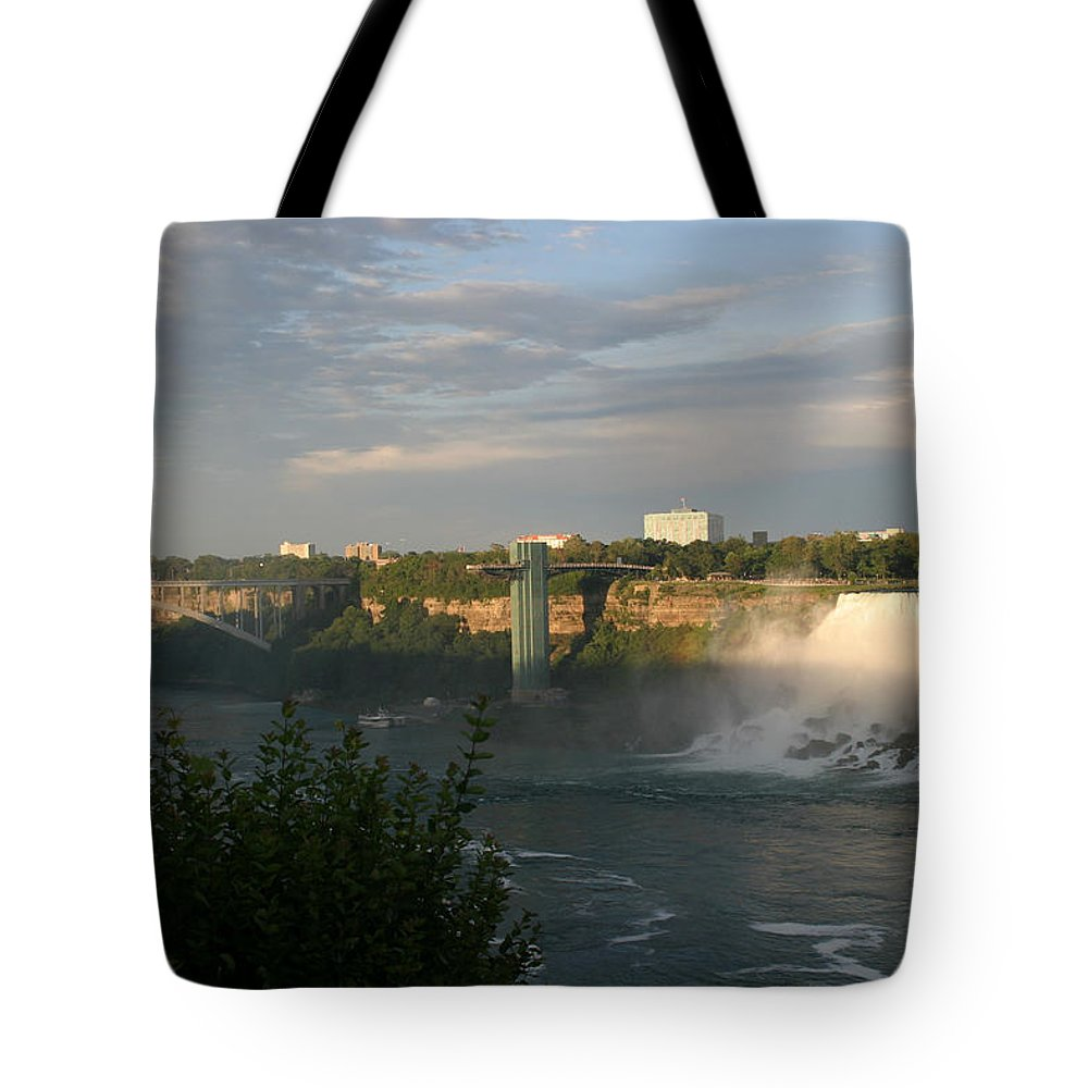Niagara Falls Tote Bag featuring the photograph Sunset On American Falls 2 by Living Color Photography Lorraine Lynch