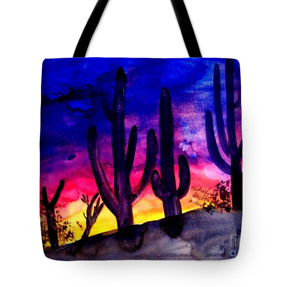 Colorful Tote Bag featuring the painting Sunset On Cactus by Michael Grubb