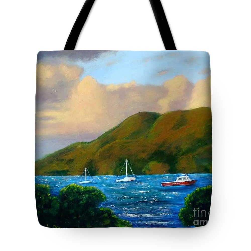 Sunset Tote Bag featuring the painting Sunset On Cruz Bay by Laurie Morgan
