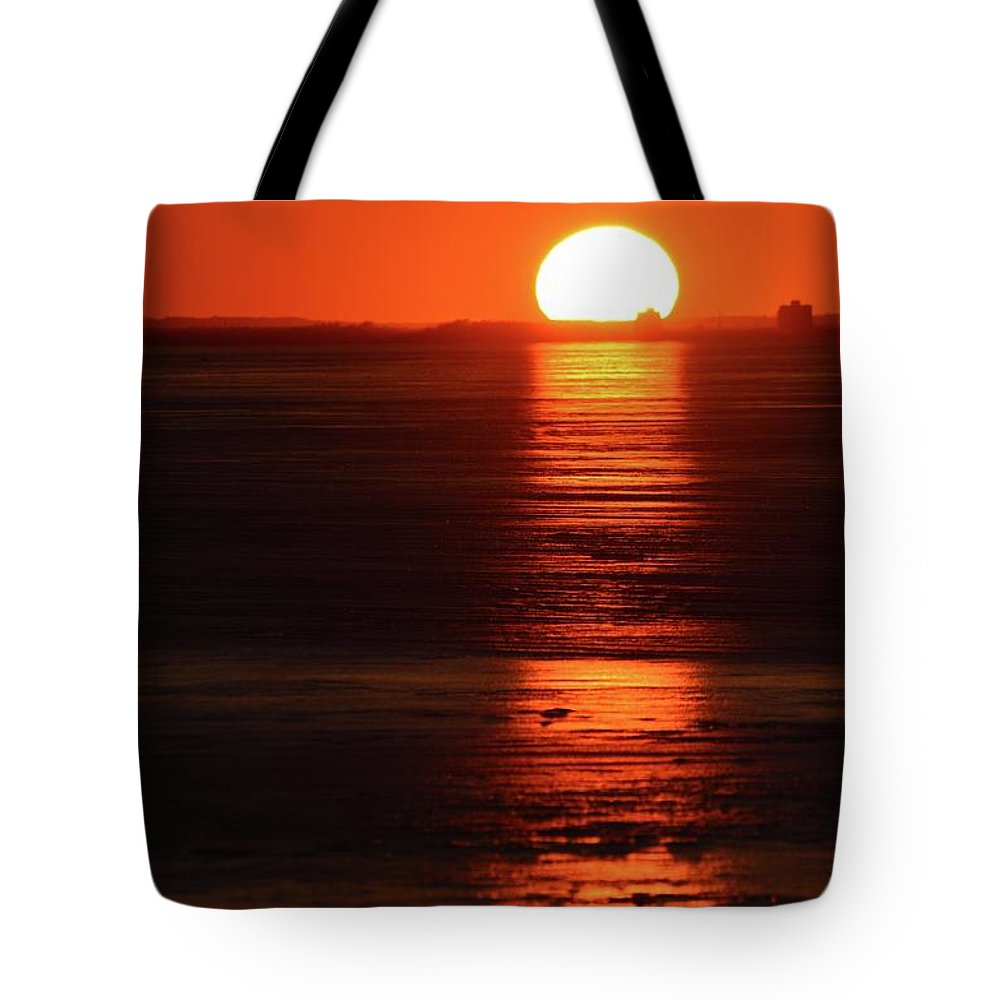 Abstract Tote Bag featuring the digital art Sunset On February 26-2018 Over Barrie by Lyle Crump