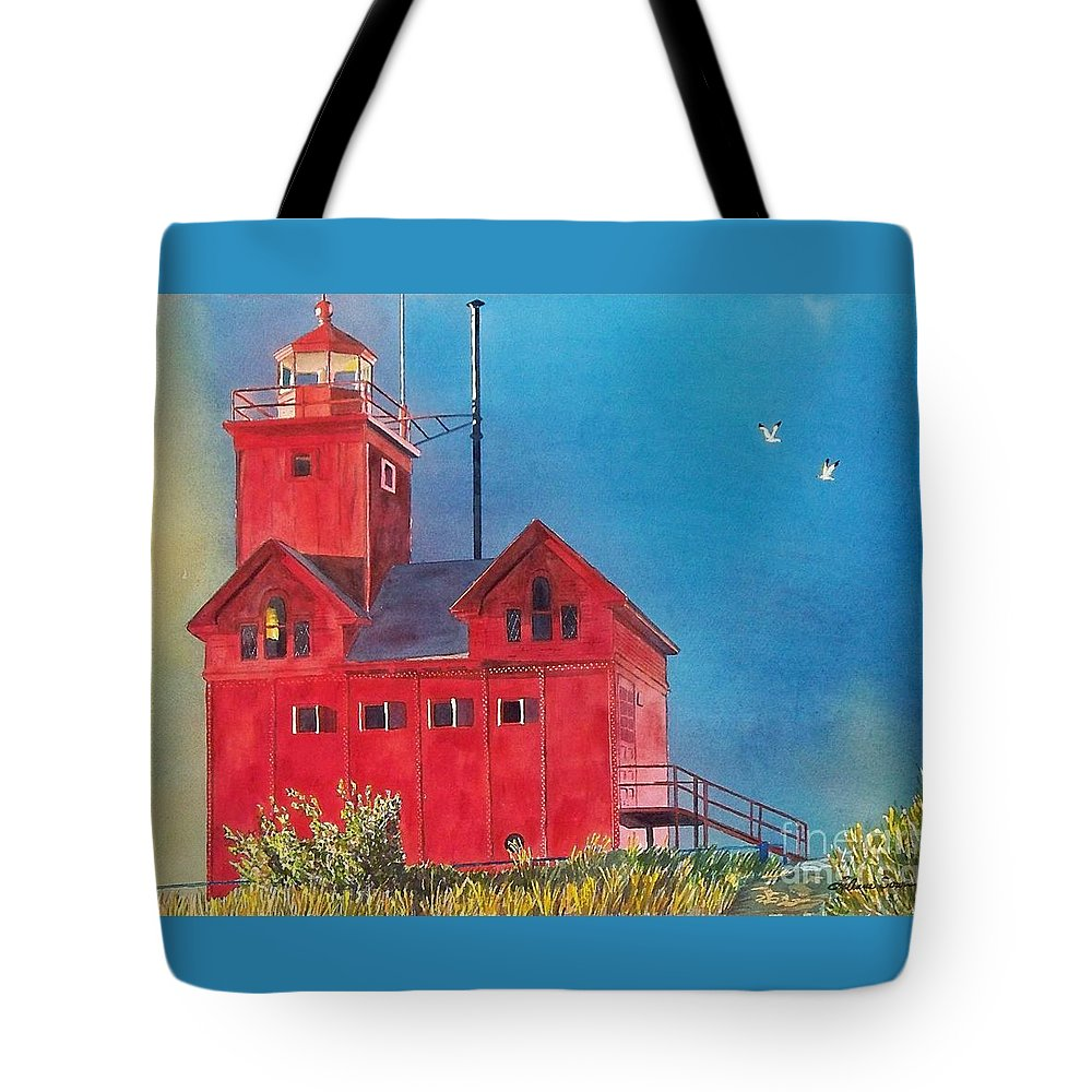 Lakes Tote Bag featuring the painting Sunset On Holland Light by LeAnne Sowa