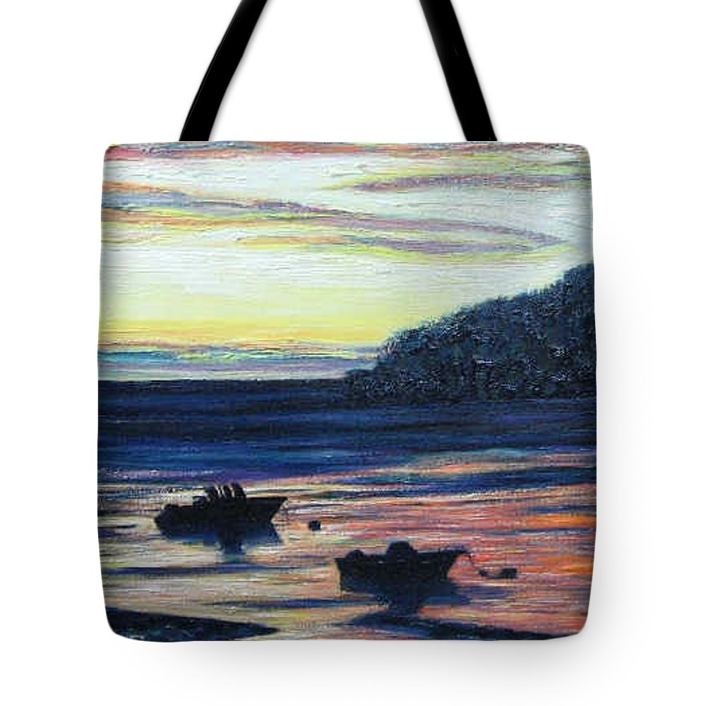 Maine Tote Bag featuring the painting Sunset On Maine Coast by Richard Nowak