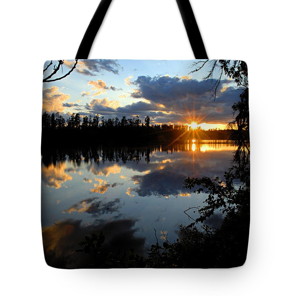 Boundary Waters Canoe Area Wilderness Tote Bag featuring the photograph Sunset On Polly Lake by Larry Ricker