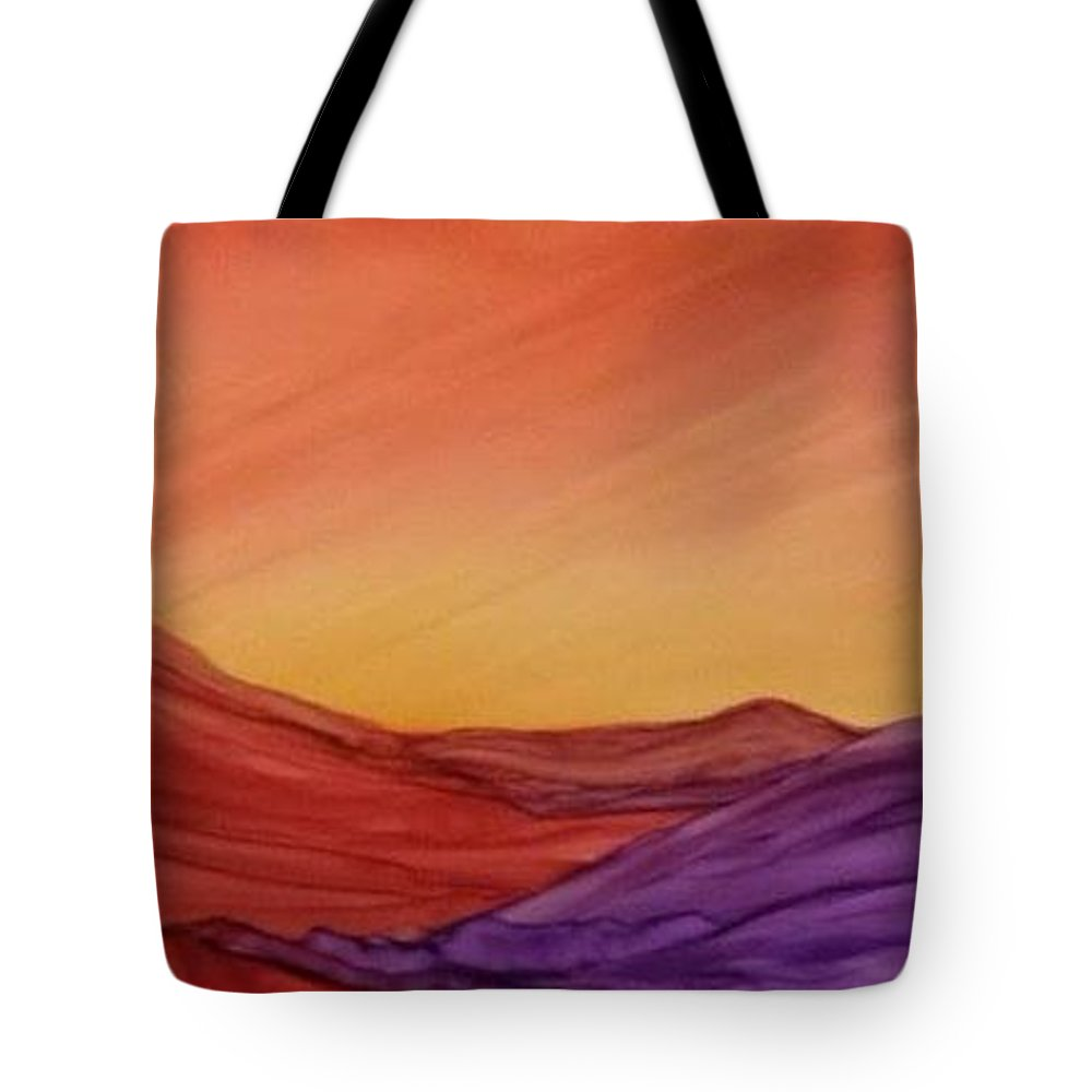 Alcohol Ink Prints Tote Bag featuring the painting Sunset On Red And Purple Hills by Betsy Carlson Cross