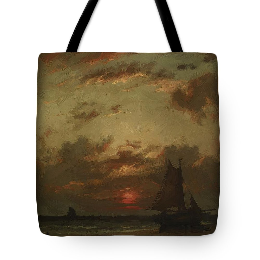 Sunset Tote Bag featuring the painting Sunset On The Coast 1870 by Dupre Jules