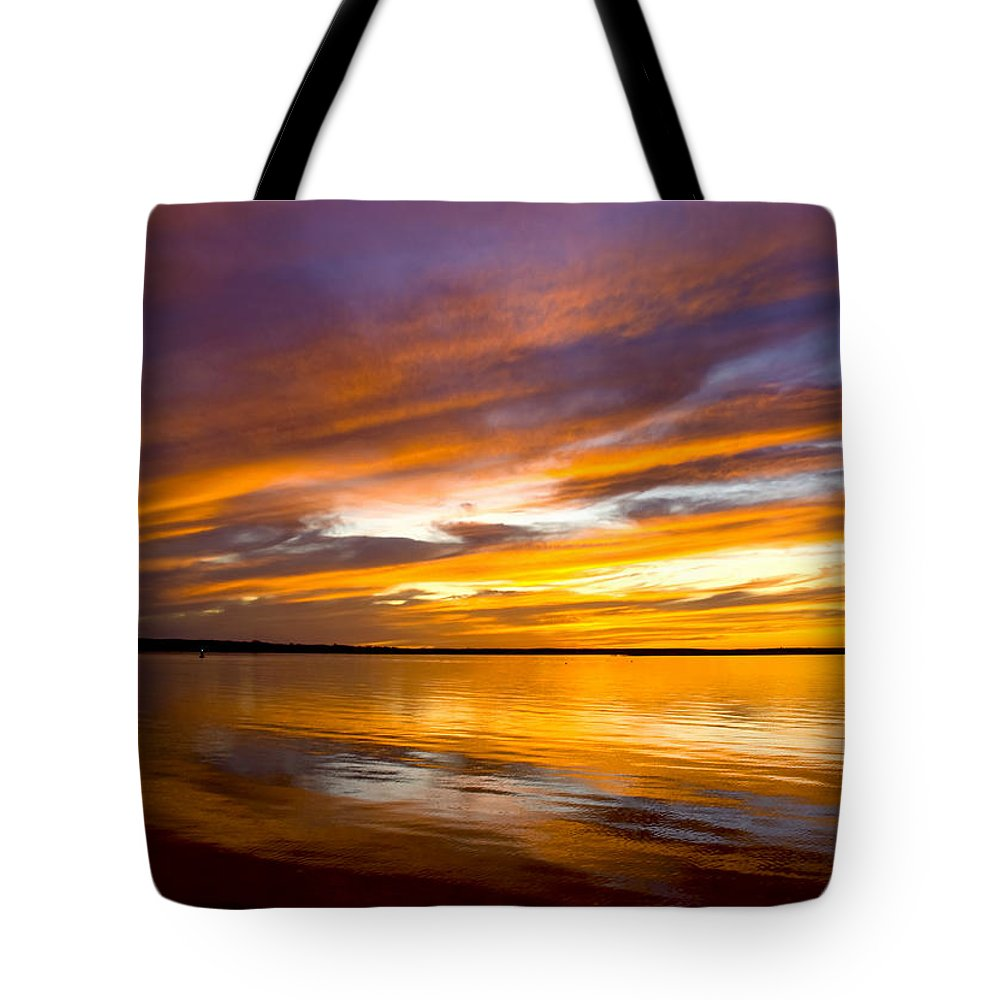 Sunset Tote Bag featuring the photograph Sunset On The Harbor by Charles Harden
