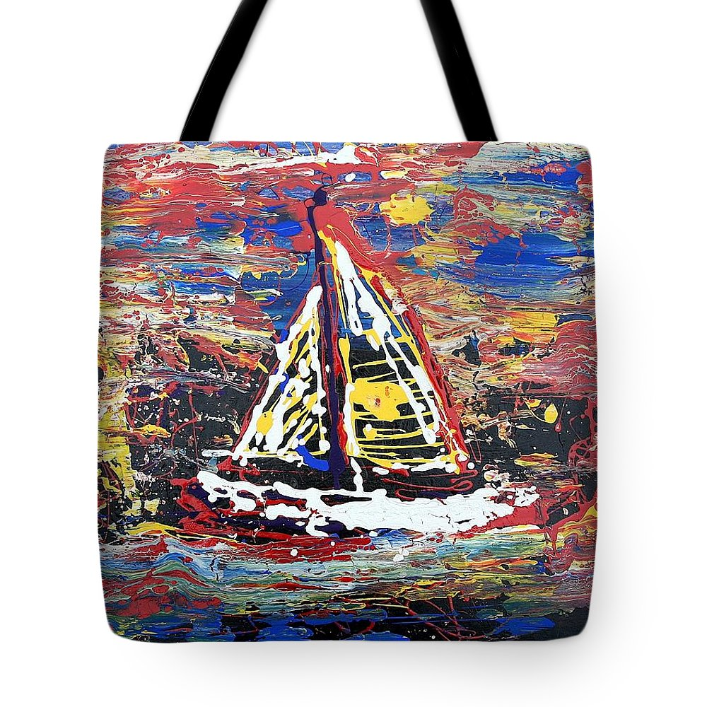 Abstract Art Tote Bag featuring the painting Sunset On The Lake by J R Seymour