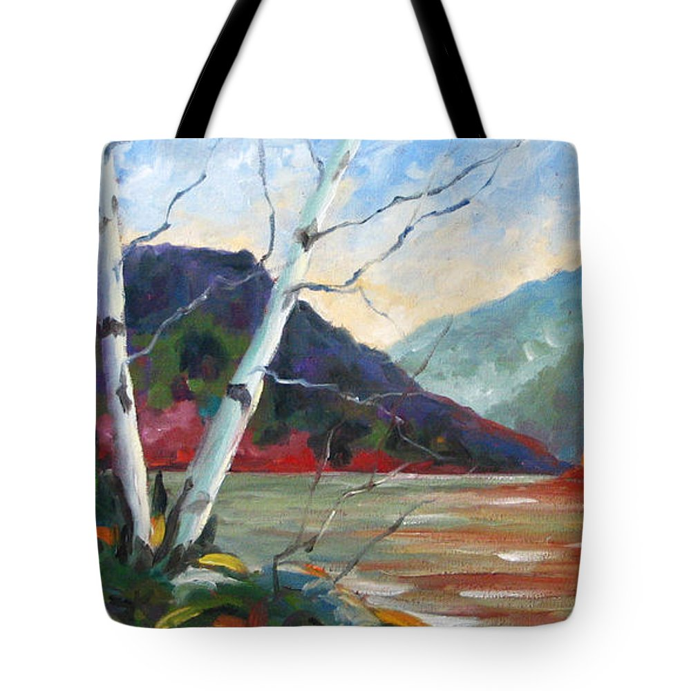 Landscape; Landscapes/scenic; Birches;sun;lake;pranke Tote Bag featuring the painting Sunset On The Lake by Richard T Pranke