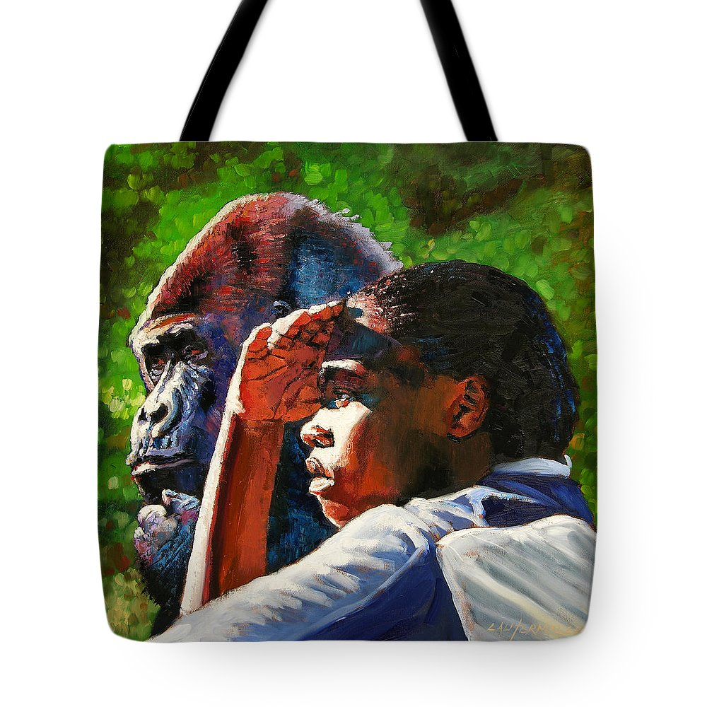 Gorilla Tote Bag featuring the painting Sunset On The Myth by John Lautermilch