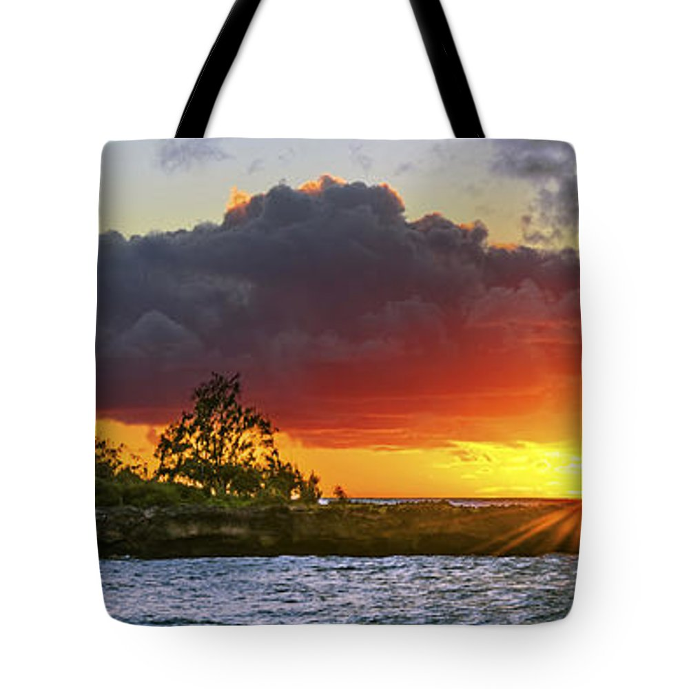 Oahu Sunset Tote Bag featuring the photograph Sunset On The North Shore Of Oahu by Aloha Art