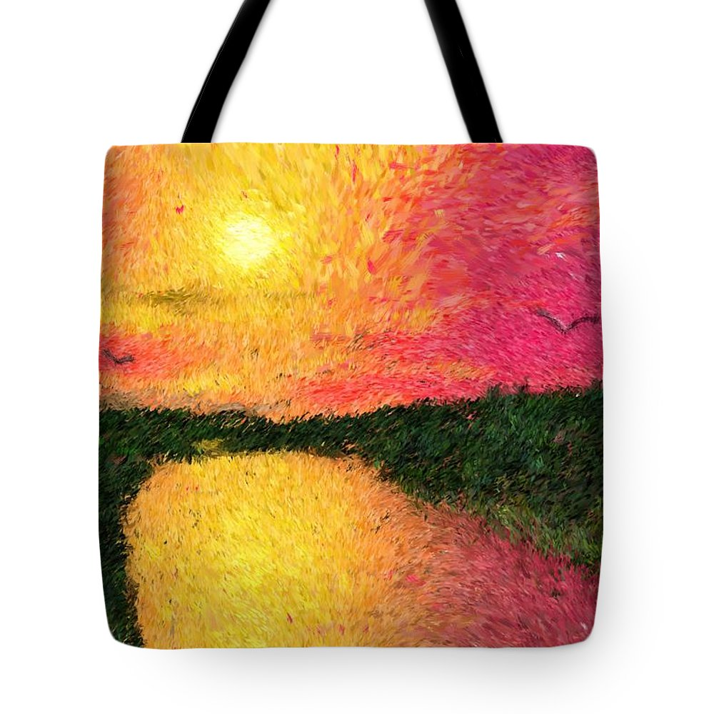 Digital Art Tote Bag featuring the digital art Sunset On The River by David Lane