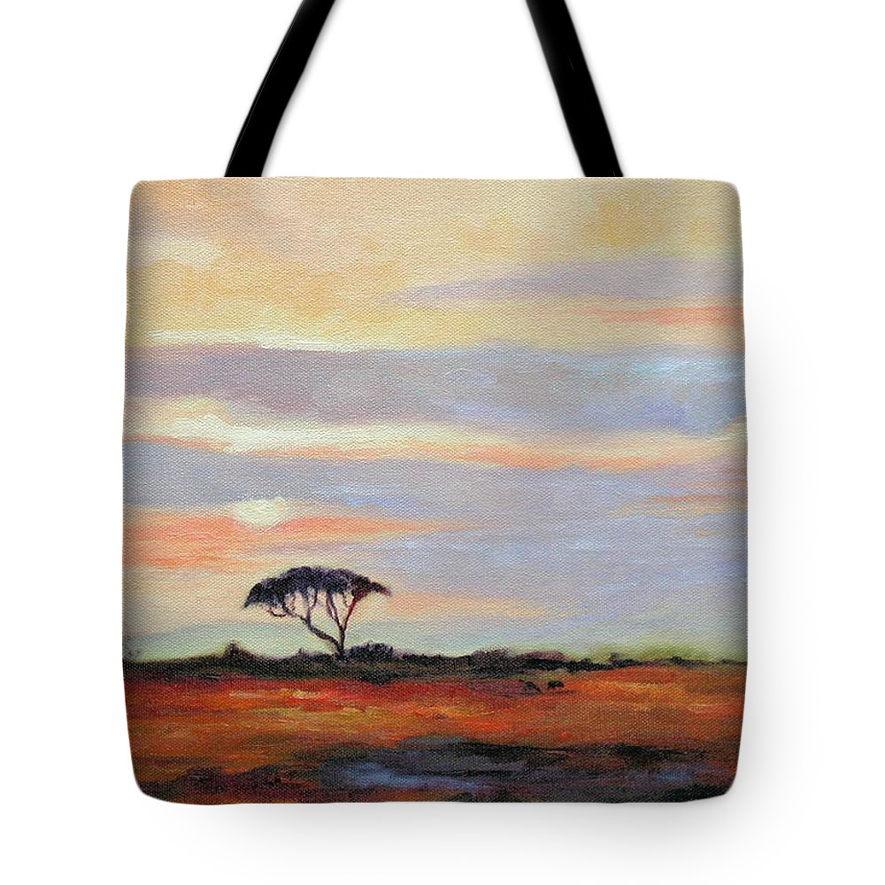 Landscape Tote Bag featuring the painting Sunset On The Serengheti by Ginger Concepcion