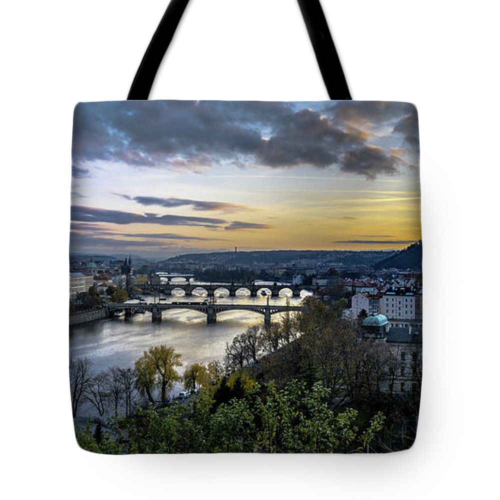 Sunset Tote Bag featuring the photograph Sunset On The Vltava by David Meznarich