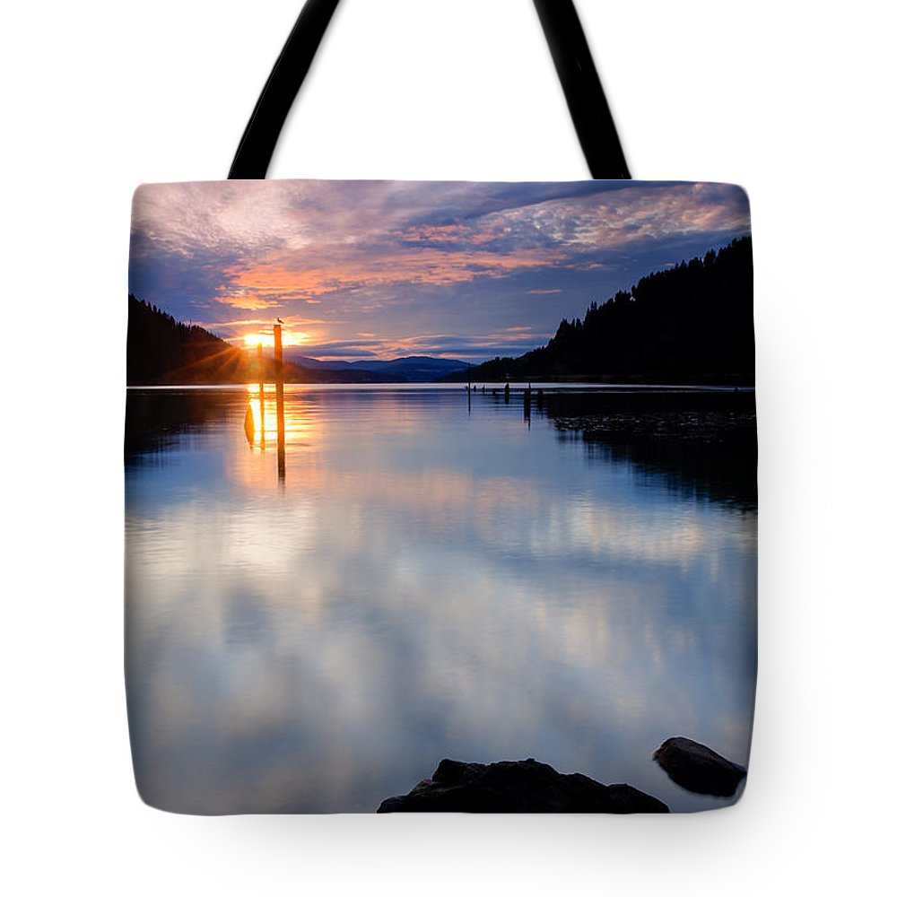 Dusk Tote Bag featuring the photograph Sunset On Wolf Lodge Bay by Idaho Scenic Images Linda Lantzy
